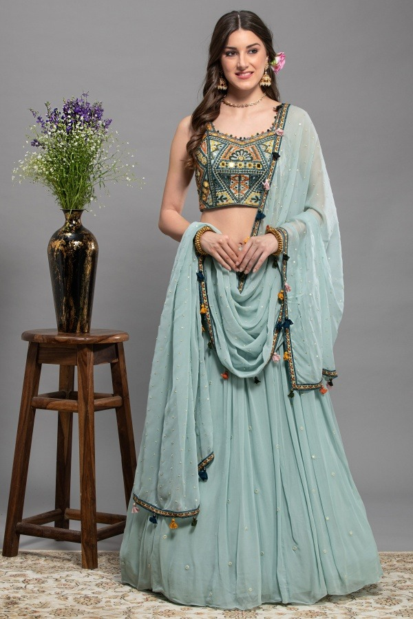 Sky Blue Lehenga Choli | Surya sarees | House of surya