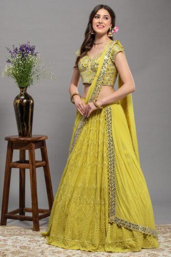 Lucknowi Chikan Yellow Drape saree | House of Surya | Surya sarees