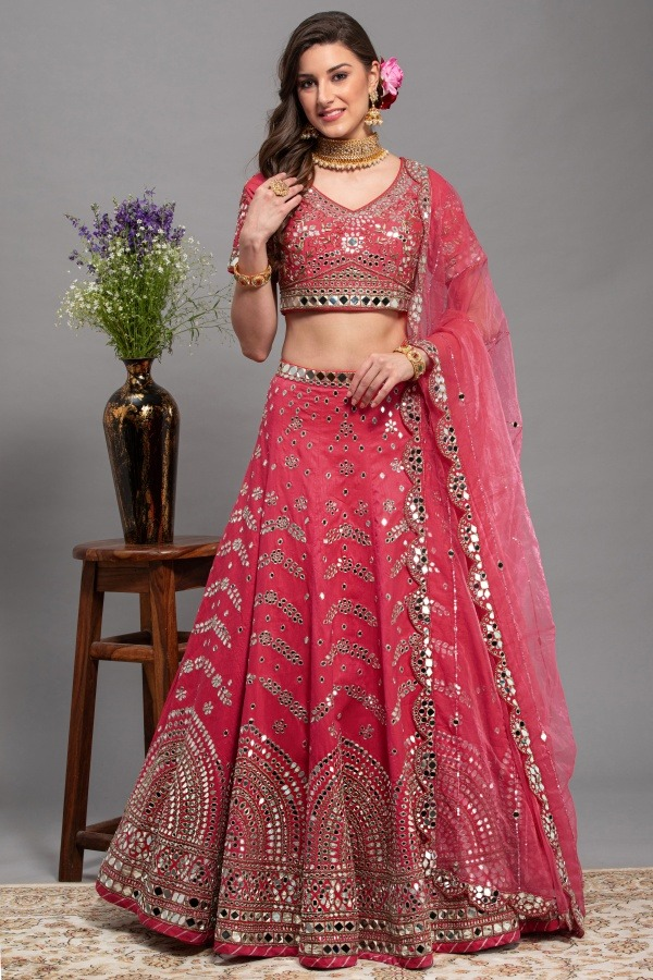 Gazri colour Lehenga Choli | House of Surya | Surya sarees