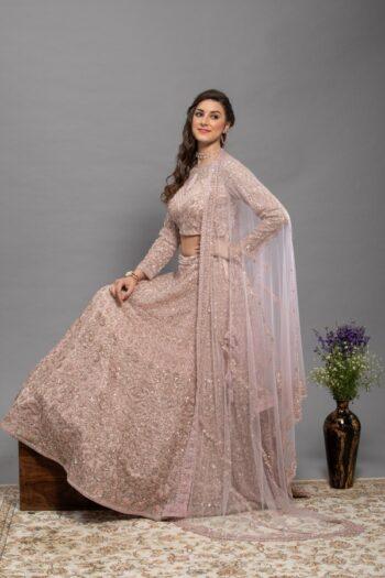 Peach Non Bridal Lehenga Choli | House of surya | surya sarees