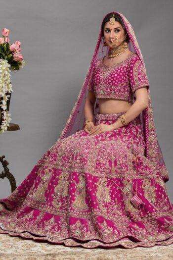 Coral Pink with Magenta Bridal Lehenga   House of surya   Surya sarees