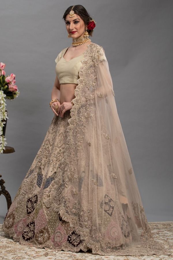 Peach Gold Bridal Lehenga Choli | House of surya | surya sarees