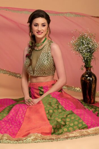Bottle Green with Multi Lehenga Choli | house of surya | surya sarees