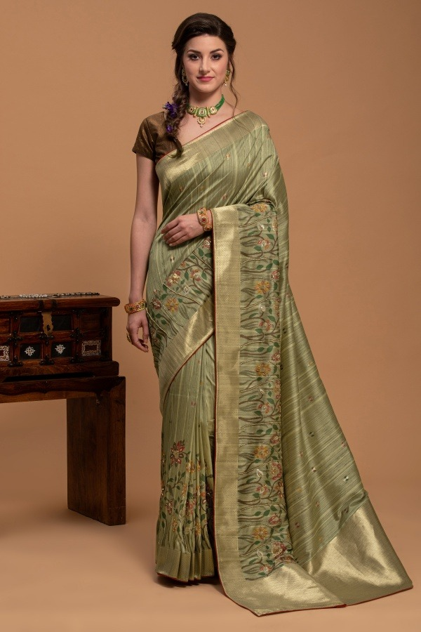Pista Saree in Silk | surya sarees | House of surya