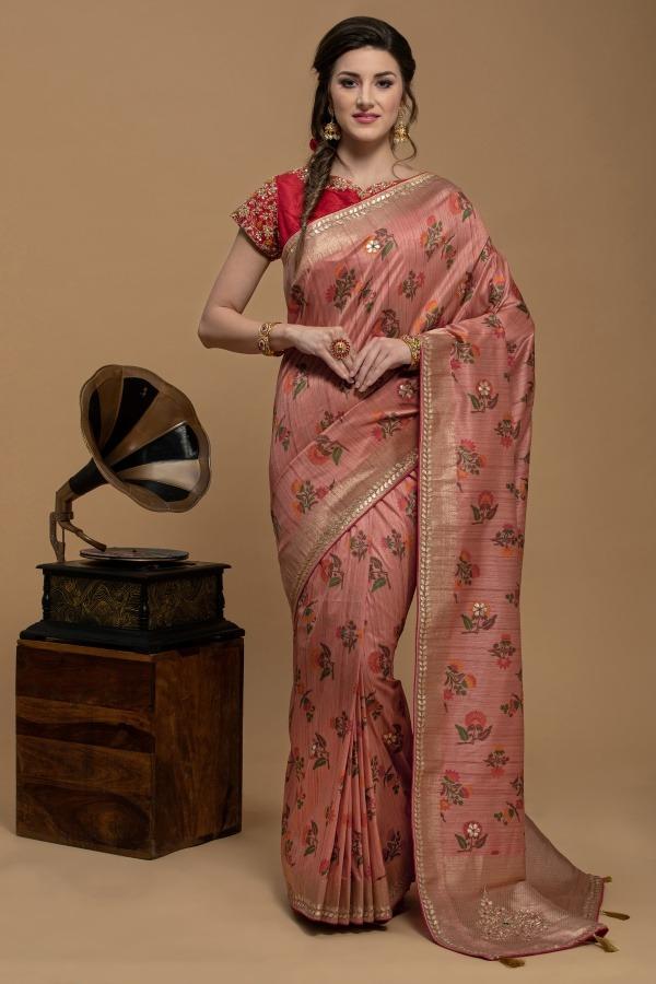 Peach Saree in Silk   House of Surya   Surya sarees