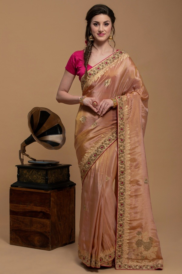 Peach Gold Kanjivaram Silk Saree | House of surya | Surya sarees