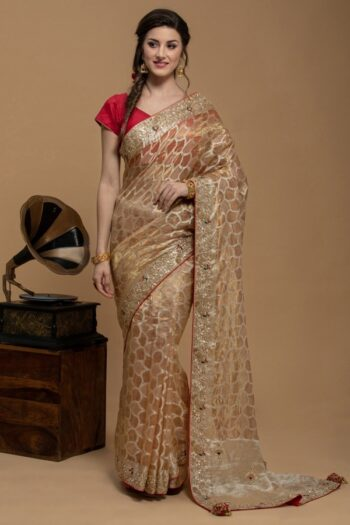 Peach Saree in Organza | House of Surya | Surya sarees