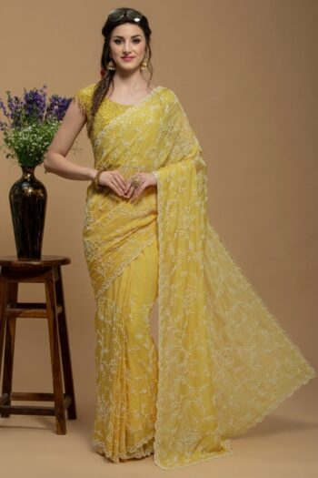 Yellow Saree in Organza | Surya sarees | House of Surya