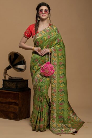 Mehendi Green Saree in Silk | House of Surya | Surya sarees