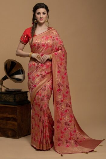 Peach saree in Georgette | House of surya | Surya sarees