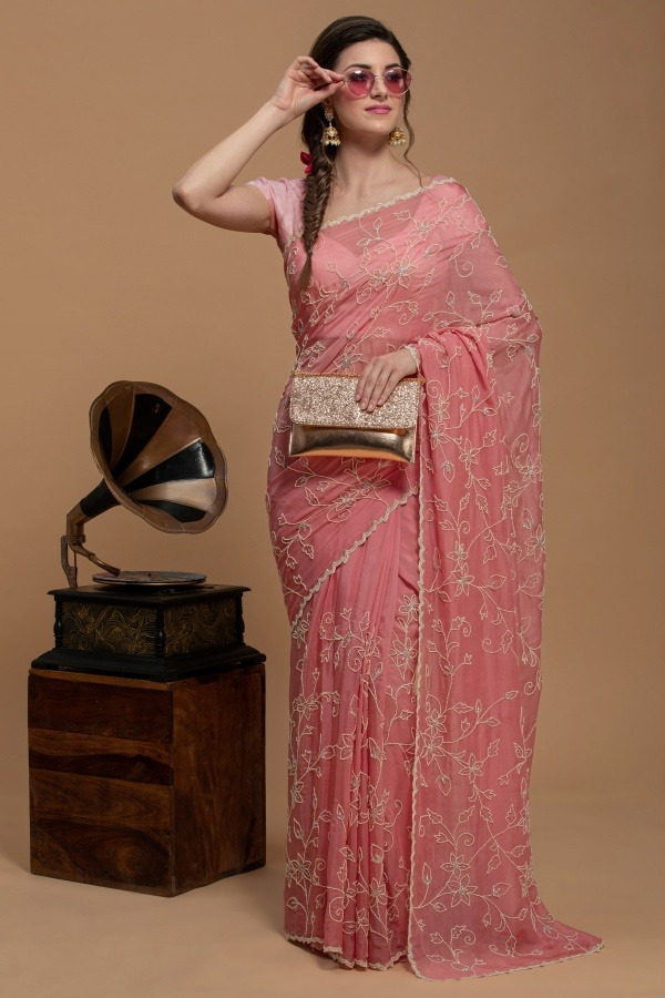 Pink Saree in Organza   House of surya   Surya sarees